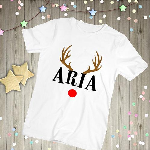 Personalised Childrens Chrismas T-Shirt, Reindeer Antlers