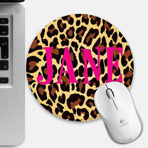 Custom Leopard Print Round Mouse Mat