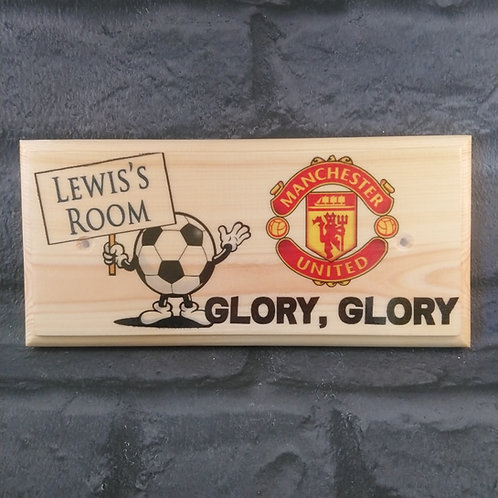 Personalised Manchester United Bedroom Door Sign