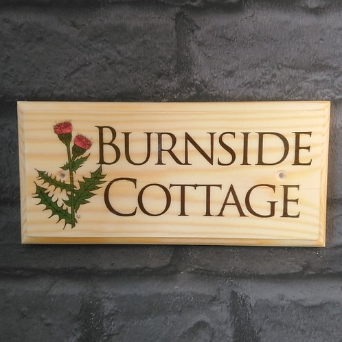 Thistle Cottage Sign, Scottish Thistle House Name Plaque