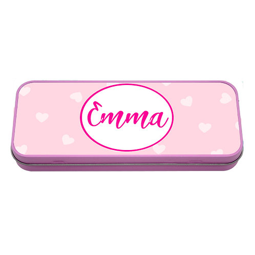 Personalised Pink Heart Pencil Tin With Name