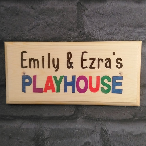 Personalised Playhouse Sign, Custom Childrens Colourful Garden Playhouse Plaque