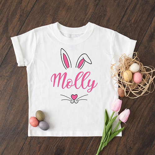 Personalised Pink Bunny Easter T-Shirt