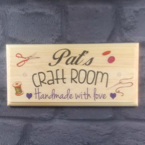 Personalised Craft Room Sign - Handmade With Love