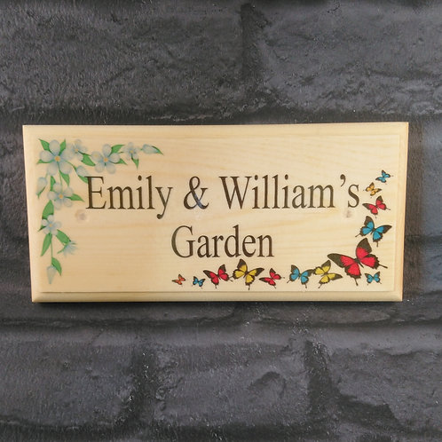 Personalised Garden Sign - Butterfly Garden Plaque
