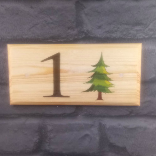 Personalised Fir Tree House Number Sign