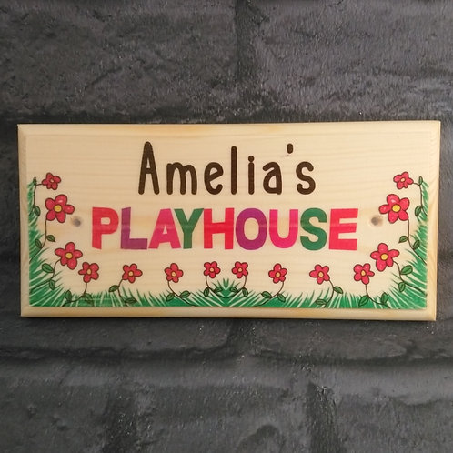 Personalised Playhouse Sign, Custom Childrens Garden Playhouse Plaque