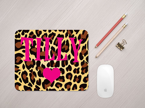 Personalised Leopard Print Mouse Mat