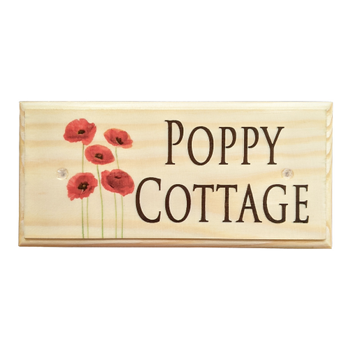 Personalised Poppy House Name Sign