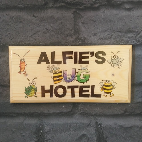 Personalised Bug Hotel Sign - Chidrens Garden Bug House Plaque