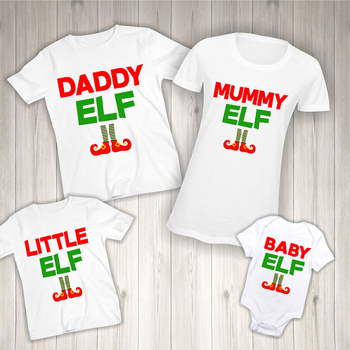 Custom Matching Family Elf Christmas T-Shirts