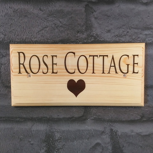 Personalised House Sign - Love Heart House Name Plaque - Heart Cottage Sign