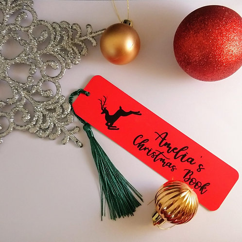 Personalised Reindeer Bookmark With Green Tassel