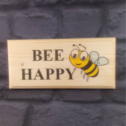 Bee Happy Sign - Bumblebee Garden Plaque