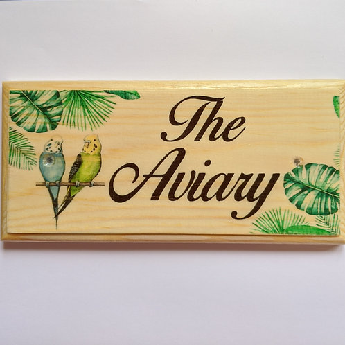 The Aviary Wooden Sign