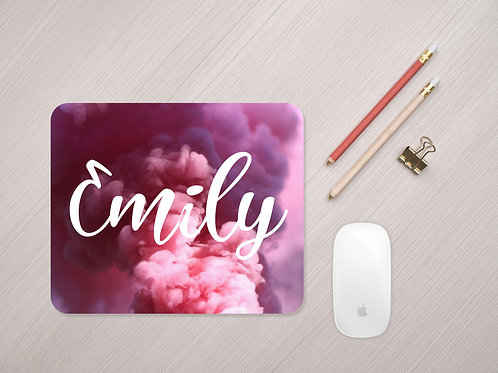 Personalised Mouse Mat With Name - Pink Smoke Mouse Pad