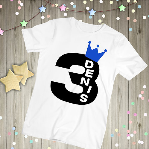 Childrens Birthday T-Shirt - Custom Name & Age