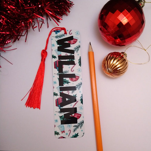 Personalised Christmas Bookmark With Red Tassel