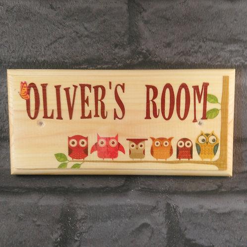 Personalised Owl Bedroom Door Name Sign