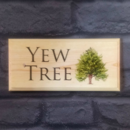 Custom Yew Tree House Name Sign