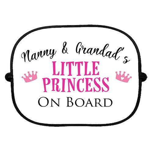 Nanny & Grandad's Little Princess On Board Car Sun Shade