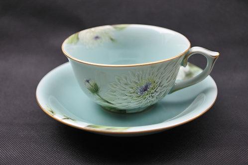 Celadon Chrysanthemum, Cup & Saucer
