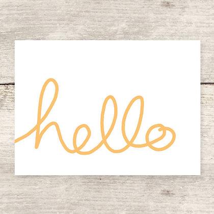 Handwritten Hello Greeting Card