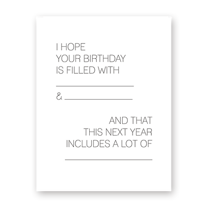 Fill-in-blank Birthday Greeting Card