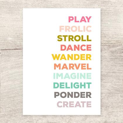 Verbs Greeting Card