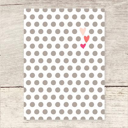 Dots + Hearts Blank Greeting Card