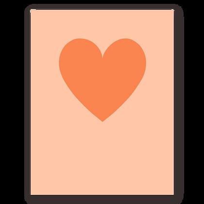 Orange Heart Blank Greeting Card