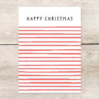 Happy Christmas Striped Holiday Greeting Card