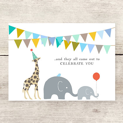 Animal Parade Celebration Greeting Card
