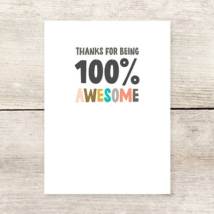 100% Awesome Thank You Greeting Card