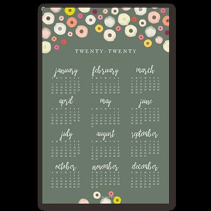 2020 Floral Wall Calendar