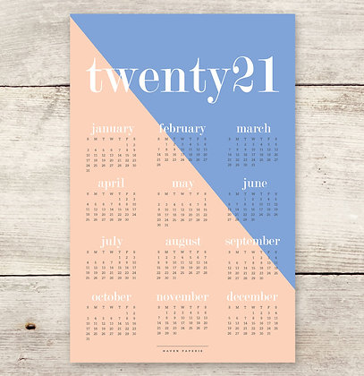 2021 Colorblock Wall Calendar