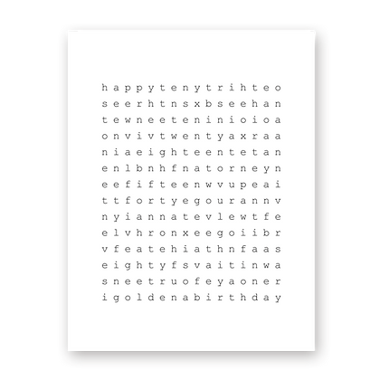 Celebration Crossword Greeting Card
