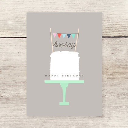 Hooray Cake Birthday Greeting Card
