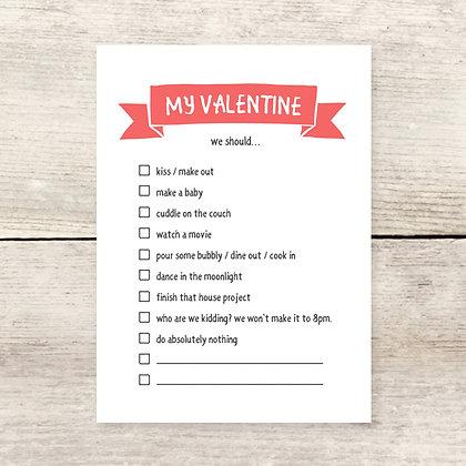 Valentine Checklist Flat Note Card