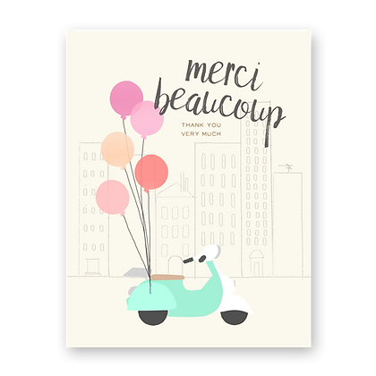 Merci Scooter Greeting Card