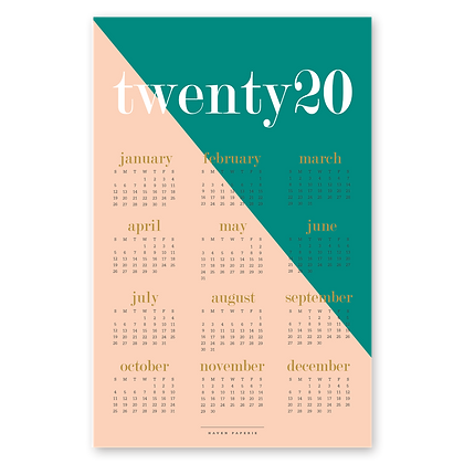 2020 Color Block Wall Calendar
