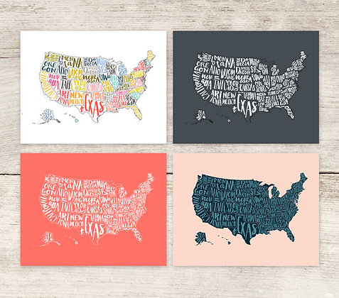 USA Map Prints (4 colors)