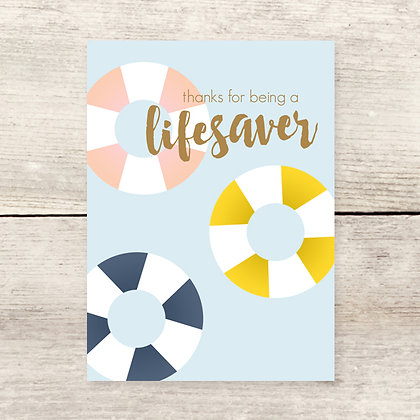 Lifesaver Thank You Greeting Card