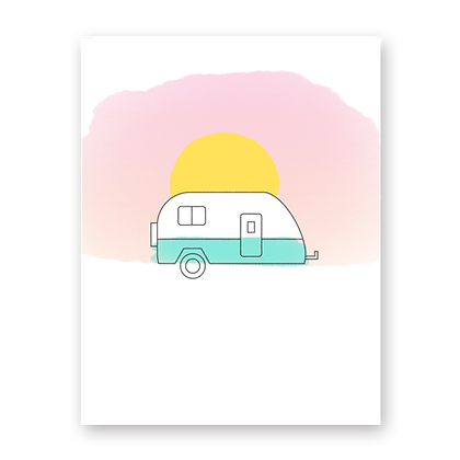 Summer Camper Blank Greeting Card