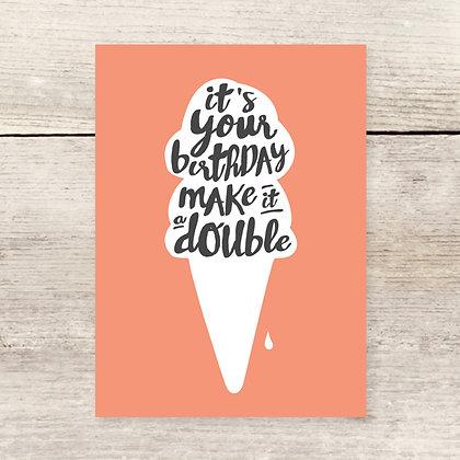 Double Scoop Ice Cream Birthday Card