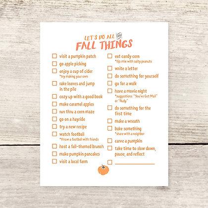 Fall Things Checklist Flat Card