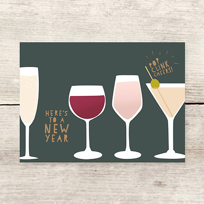 New Years Cocktails Greeting Card