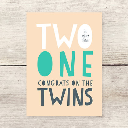 Congrats Twins Greeting Card