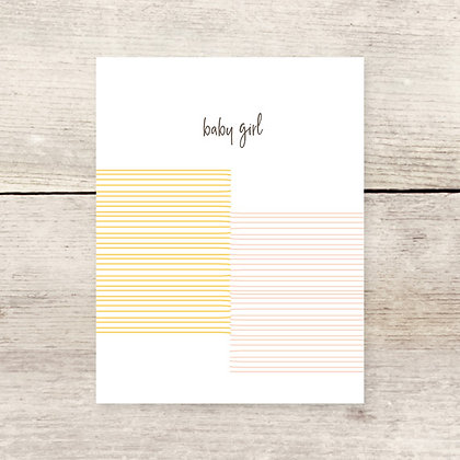 Striped Baby Girl Greeting Card