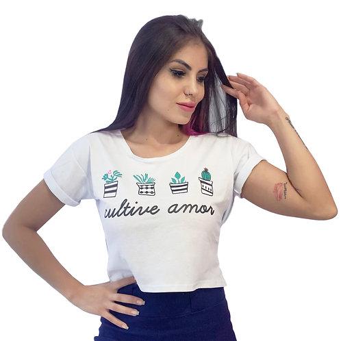 Tshirt Cropped Cultive Amor Branca